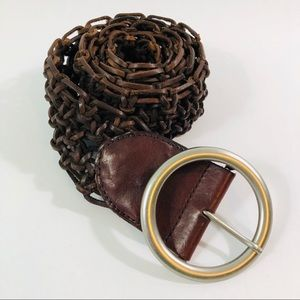 The Limited Genuine Leather Brown Woven Belt